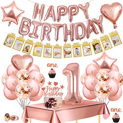 1st First Birthday Party Decoration Rose Gold, with Kids Photo Banner Growth Record 1-12 Month Monthly Milestone Photograph, Happy Birthday Banner Latex &Confetti& Foil Balloons for Kids Party