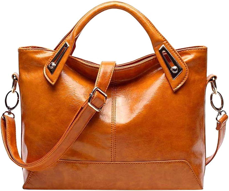TENDYCOCO Damen Damen Damen Damen Handtasche Vintage Luxury Wax Echtleder Tote Umhängetasche Umhängetasche Satchel Handtasche (Hellbraun) B07NKXST6F  Niedriger Preis 1c7704