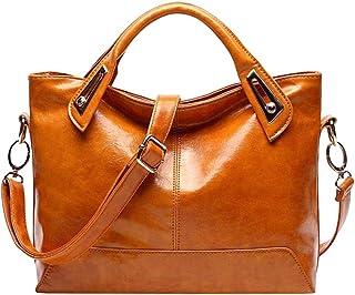 Tendycoco Bolsa a tiracolo de couro legítimo de luxo para mulheres (marrom claro), Marrom claro, About 31 x 14.5 x 32cm