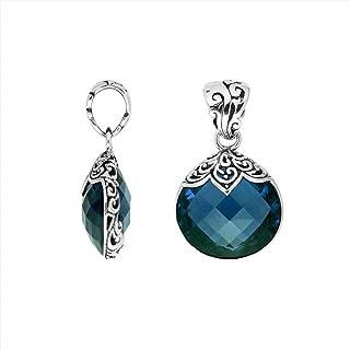 Sterling Silver Pears Shape Pendant with London Blue Quartz AP-6180-LBT