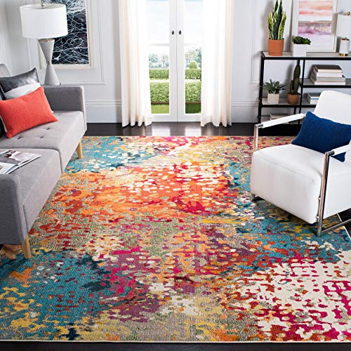 Safavieh Madison Collection MAD429C Bohemian Chic Abstract Watercolor Distressed Area Rug, 6' x 9', Ivory/Multi
