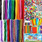 Pllieay Over 2500 Pieces Arts and Crafts Supplies for Kids- of Colorful and Creative Arts and Crafts Materials, Glitter Glue, 500 Pipe Cleaners Pom poms, Popsicle Sticks for Kids and Toddlers