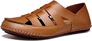 Men Sandals Fashion Sandals for Men Casual Cool Breathable Shoes Slip On Style Outdoor PU Leather Strap Closed Toe Comfor...