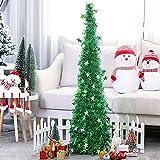 152cm Plegable Pop-up árbol de Navidad telescópico oropel árbol de Navidad Interior Exterior árbol de Navidad Chimenea Fiesta Fiesta decoración del hogar (Verde)
