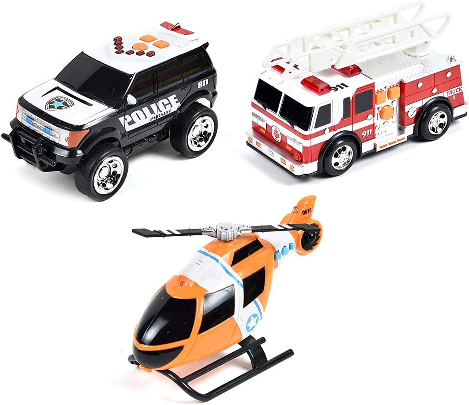 Maxx Action Light and Sound Rescue Vehicles 3-pack  Helicopter, Police SUV, Fire Truck (colors & Styles May Vary)