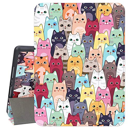 Hi Space iPad 10.2 Case Cat 2019, Colorful Cartoon iPad 7th Generation Case with Pencil Holder, Cute Animal Trifold Slim Stand Protective Smart Shockproof Cover Auto Sleep/Wake for A2197 A2198 A2200