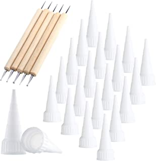 20 Pieces Snip Tip Applicator Tips for E6000 Craft Glue 3.7 oz Tubes, 5 Pieces Wooden Ball Stylus Dotting Tools Kit for Rock Painting Pottery Clay Modeling Embossing Art