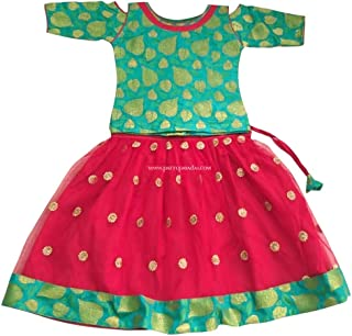 Pattu Pavadai Green and Red Netted Fancy Langa for Indian Baby Girls and Kids