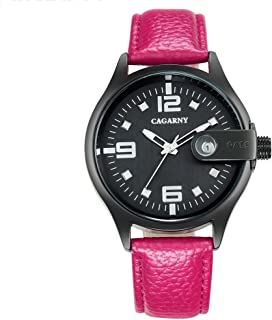 Perfect Home 6873 Personality Waterproof Round Dial Quartz Movement Alloy Case Fashion Watch Quartz Watches with Leather Band Fashion (Color : Magenta)
