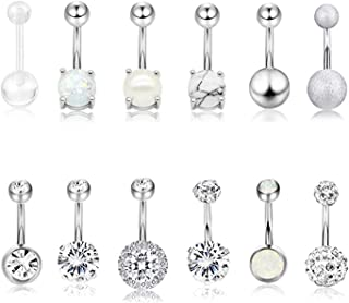 12Pcs Belly Button Rings for Women Girls Surgical Steel Curved Navel Barbell Rings Body Piercing Jewelry