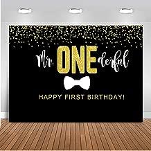 Mocsicka Mr Onederful Backdrop Boy's First Birthday Photography Background 7x5ft Vinyl Black Tie 1st Birthday Party Backdrops