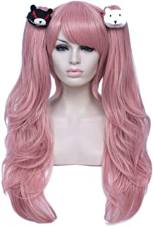 Pastel Wavy Pink Ponytail Anime Wig | Alacos Women's Long Cosplay Pink Wig Curly Wavy Synthetic Cosplay Wig for Girl Color...