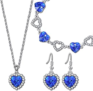 QIANSE Mother's Day Jewelry Set Gifts Heart of Ocean White Gold Plated Jewelry Set with Blue Heart Crystals, Titanic Jewel...