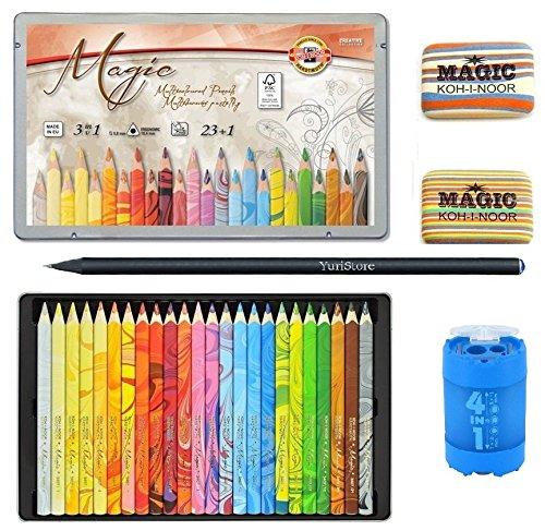 KOH-I-Noor Magic Jumbo Triangular Coloured Pencil Pack of 24 + 2xEraser + Sharpener + Gift Black YuriStore Woden Pencil.