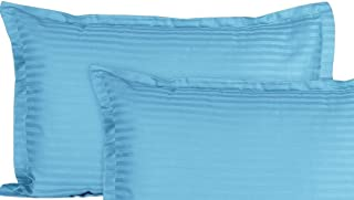 Amigos® 100% Cotton Satin Stripe Pillow Cover/ Pillow Cases 210 TC Pack of 2 Pillow Cover (Turquoise)