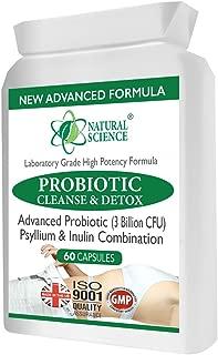 DETOX PROBIOTIQUE en une capsule - 3 milliards de bonnes bactéries - PLUS nettoyage essentiel de psyllium - éliminer les toxines nocives - établir un système digestif sain - ISO GMP nouvelle formule
