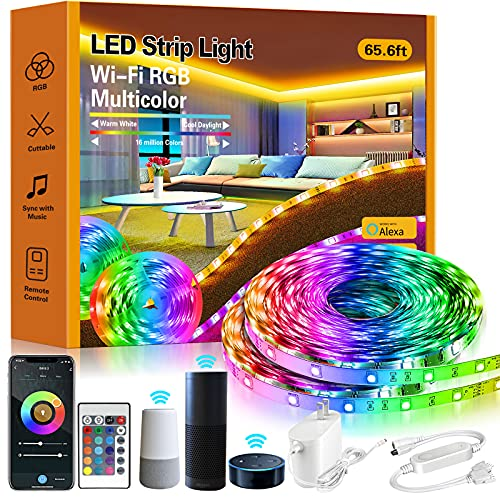 ROMALL Smart LED Strip Lights,65.6ft RGB LED Lights with App Control, 16 Million Colors WiFi Light Strips for Bedroom,Kitchen,Dorm Room, Bar, Work with Alexa and Google Assistant