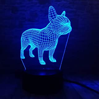 French Bulldog Night Light 3D Illusion Table Lamp YKL WORLD Puppy Dog 7 Changing Color Toys Birthday Christmas Gifts for Kids Boys Girls Home Bed Room Decor