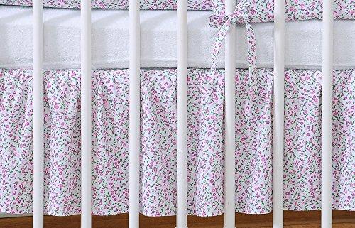 Cache sommier liberty rose et vert pour lit bébé 120 x 60 cm - Fabrication européenne