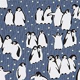 Michael Miller Blaugrauer Stoff mit Pinguinen