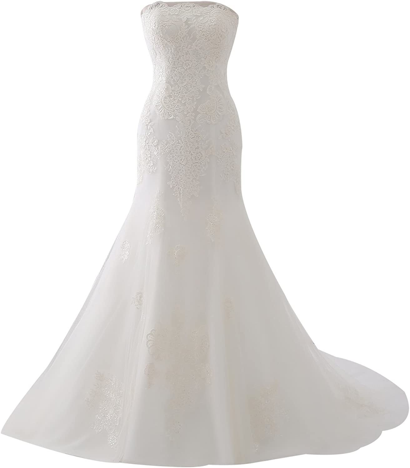 Epinkbridal Lace Mermaid Wedding Dress Gowns Strapless Off Shoulder Bridal Gowns