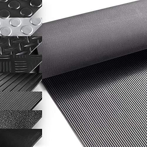 ANRO Gummimatte Schutzmatte Meterware Bodenmatte Feinriefen Gummiläufer 100cm Breit 3mm stark Schwarz 100 x 100cm