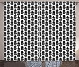 abakuhaus ananas tenda, semplice illustrazione vegan, casa arredamento elemento distintivo due pannelli set, 280 x 260 cm, charcoal grey bianco