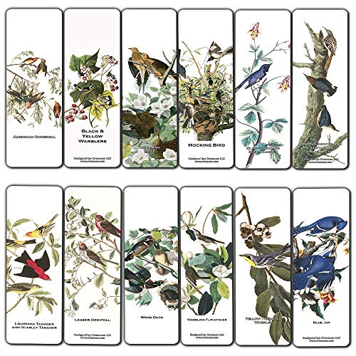 Creanoso Bird Bookmarks (12-Pack) - John James Audubon - Unique Art Print Design - Awesome Bookmarks for Bookworms Men Women Teens – Six Assorted Bookmarks Designs - Page Book Clipping Wall Decal