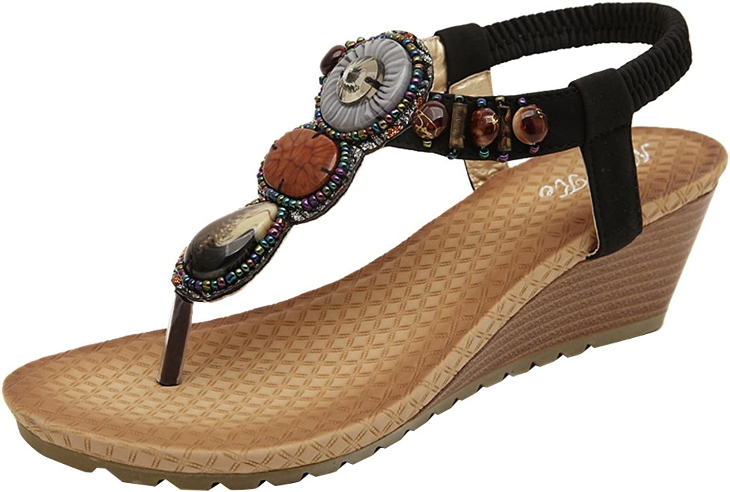 AGOWOO Pull On Jeweled Strap Skidproof Wedge Sandals for Women