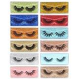 12 Styles False Eyelashes Pack Natural Wispy Faux Mink Lashes Bulk Fluffy Volume Dramatic 5D Fake Eyelashes