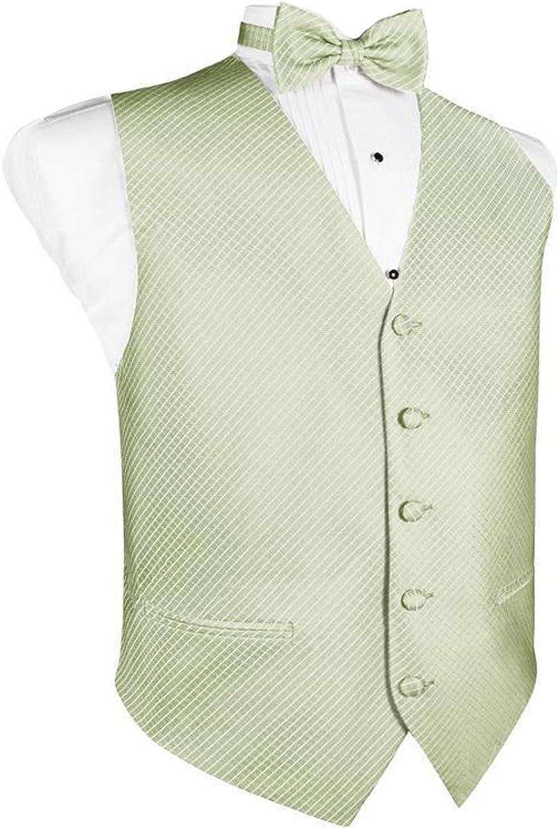 Men's Mint Grid Pattern Tuxedo Vest and Bow Tie