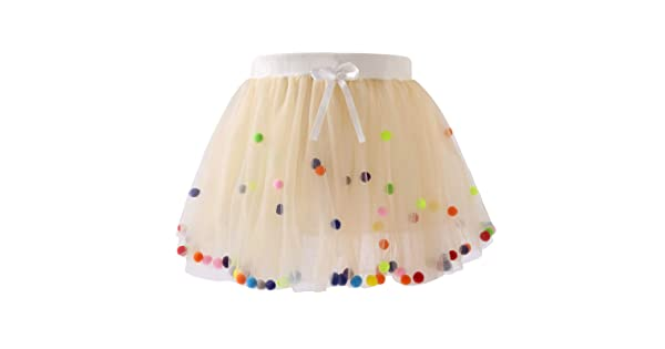 AWAYTR Baby Tutu Skirt for Girls 4 Layers Soft Tulle Princess Dress with Pom Pom Puff Ball