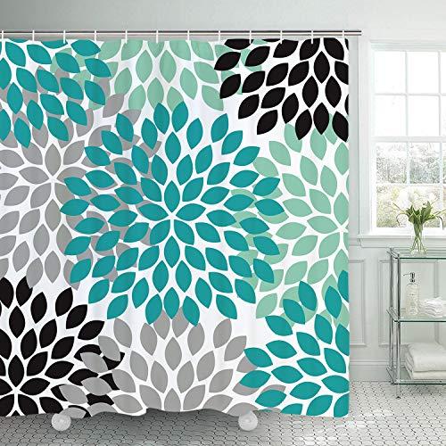Alishomtll Blätter Duschvorhang, Blume Duschvorhänge Textil Wasserdicht Antischimmel Shower Curtains Badewanne Waschbar mit 12 Haken, 175x178 cm, Türkis Weiß