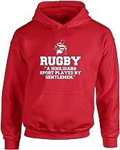 Brand88 Rugby,A Hooligans Sport Played by Gentlemen, Kids Printed Hoodie - Fire Red/White 9-11 Years