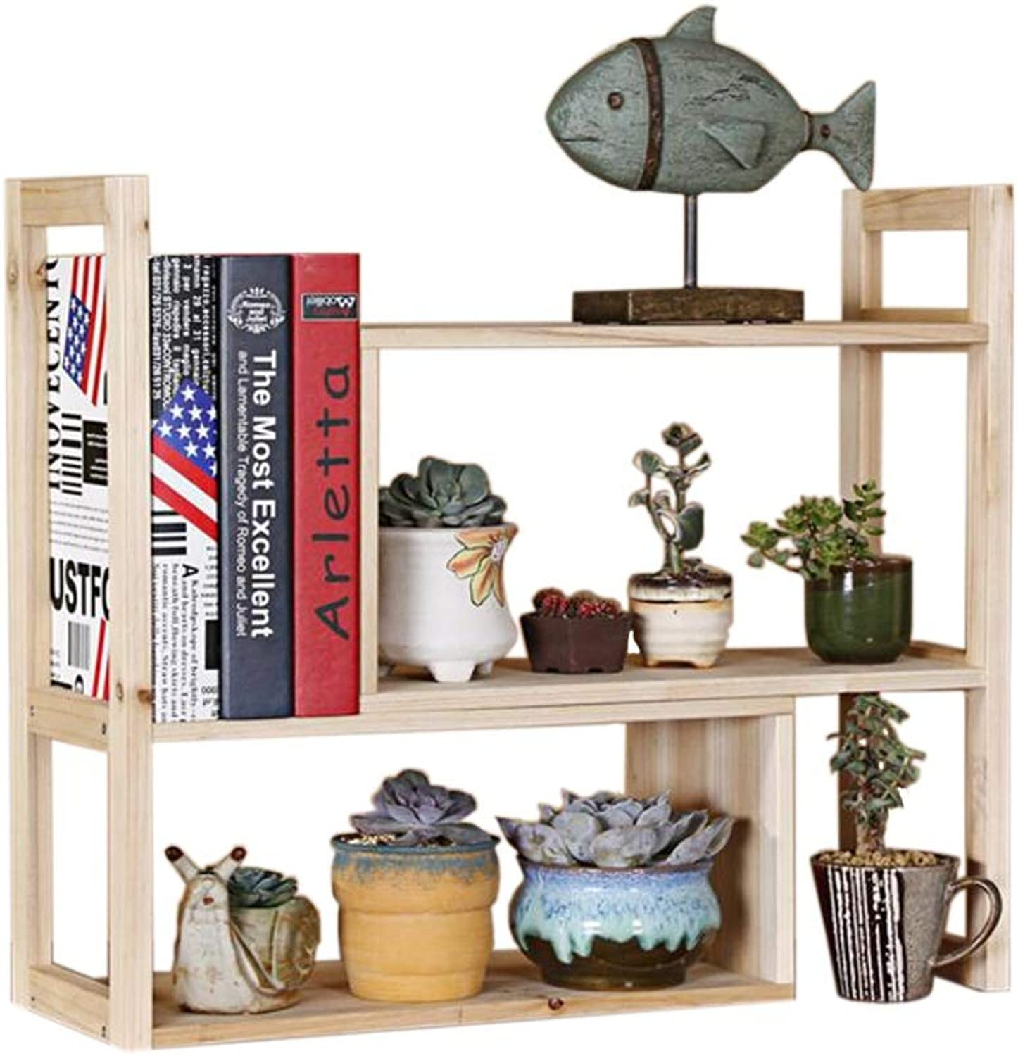 JCAFA Shelves Creative Retractable Bookshelf Countertop Bookcase Office Supplies Document Display Stand Desktop Manager Combination (color   Brown, Size   42  18  46.5cm)