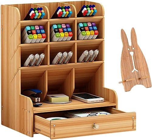 Marbrasse Wooden Desk Organizer, Multi-Functional DIY Pen Holder Box, Desktop Stationary, Easy Assembly,Home Office S...