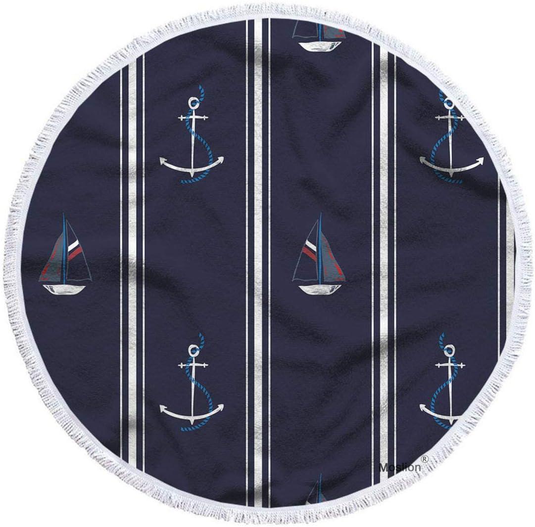 Moslion Nautical Beach Max 58% OFF Towel Blanket Anchors Ocean Sea Boats Ranking TOP7 Shi