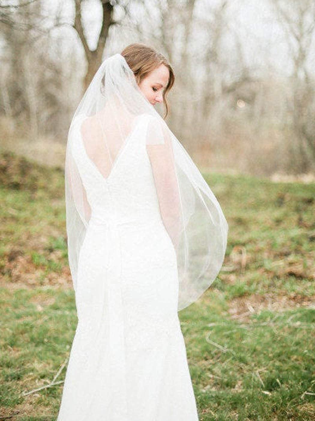 Milanco Wedding Bridal Veil with Comb White Cut Edge Drop Veil 2 Tier Brides Hair Accessories for Women Elbow Length