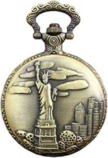 Antique Engraved Statue of Liberty Quartz Pocket Watch Pendant Watch with Chain