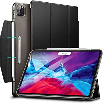 "ESR Yippee Trifold Smart Case for iPad Pro 12.9"" 2020 & 2018, Lightweight Stand Case with Clasp, Auto Sleep/Wake [Supports Pencil 2 Wireless Charging], Hard Back Cover for iPad Pro 12.9"", Black"