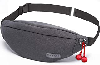 Fanny Pack for Men Women with Headphone Jack and 3-Zipper Pockets Adjustable Waist Pack Bags