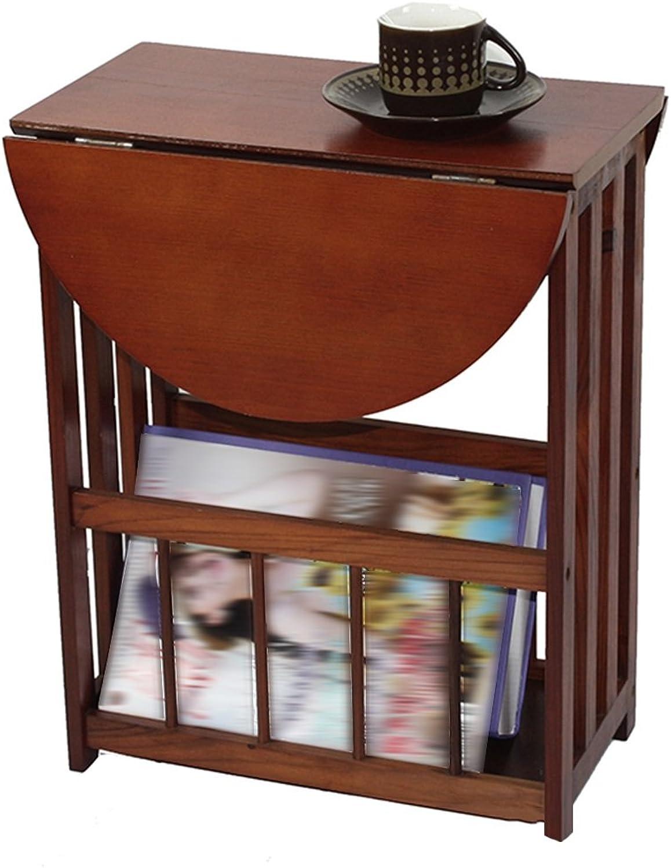 Tingting Side Table Desk End Bedside Newspaper Rack Magazine Rack Small Desk Corner Pine Walnut 51  36  45cm (color   Walnut)