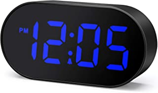 Plumeet Digital LED Alarm Clock with Dimmer and Snooze, 2 Level Alarm Volume Optional, Large Blue Digit Display Bedside Clocks with USB Port Phone Charger, Simple Operation (Blue)