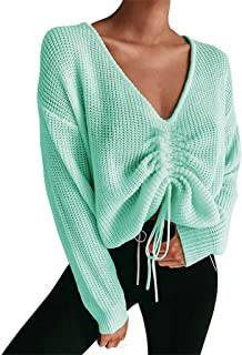 iTLOTL Women Casual Loose Knitting V-Neck Tops Long Sleeve Hollowed Out Sweater