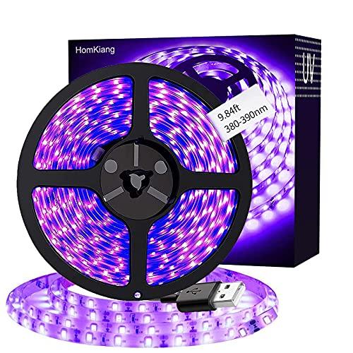 Tira de LED UV 3M,Cortable DIY Luz UV Tiras Negra,Luz Púrpura de 5V 2835, Tira de Luz LED Iluminación Ambiental para Fiesta de Baile de Halloween, Navidad, Fiesta de DJ, Discoteca, Pintura Corporal
