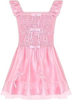 Freebily Adult Mens Ruffled Bodice Sissy Crossdressing Lingerie Dresses Silky Satin Nightie Nightwear