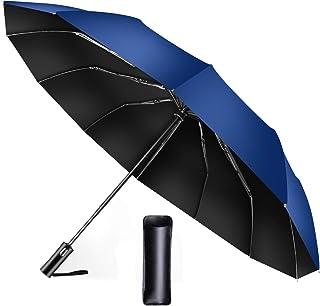 折りたたみ傘 自動開閉【2020強化版 頑丈な12本骨】おりたたみ傘 メンズ 軽量 大きい 超撥水 高強度グラスファイバー ビッグサイズ 日傘 折り畳み傘 レディース 梅雨対策 晴雨兼用 父の日ギフト プレゼント 収納ポーチ付き (ブルー)