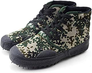 LUKEEXIN Training Shoes High Help Woodland Digital Camouflage Training Shoes Rubber Outsole Wear-Resistant Anti-Slip Military Training Shoes Labor Insurance Shoes
