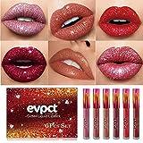 evpct 6Pcs Matte to Glitter Liquid Lipstick Set, 6 Colors Glitter Lips Sparkly Diamond Shimmer Metallic Lip Gloss Waterproof Long Lasting Lipgloss Sets Glitter Lipstick Kit for Women Makeup 01