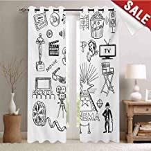 Movie Theater Blackout Draperies for Bedroom Hand Drawn Symbols of Hollywood Oscar 3D Glasses Sketch Style Arrangement Thermal Insulating Blackout Curtain W108 x L108 Inch Black White